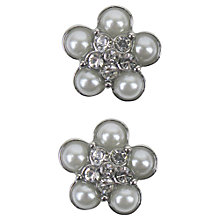Buy Large Clear Flower Rhinestone Buttons, 19mm, Silver Online at johnlewis.com