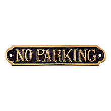"Buy The House Nameplate Company Brass ""No Parking"" Sign Online at johnlewis.com"