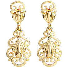 Buy Susan Caplan Vintage 1960s Trifari Gold Plated Filigree Clip-On Drop Earrings, Gold Online at johnlewis.com