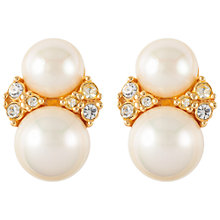 Buy Susan Caplan Vintage 1980s Christian Dior Gold Plated Faux Pearl Swarovski Crystal Clip-On Earrings, Pearl Online at johnlewis.com