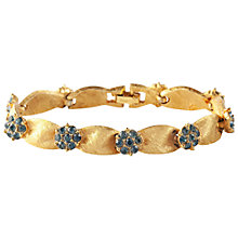 Buy Susan Caplan Vintage 1960s Trifari Gold Plated Swarovski Crystal Flower Bracelet, Gold/Blue Online at johnlewis.com
