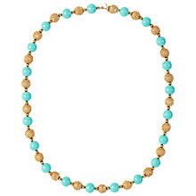 Buy Susan Caplan Vintage 1950s Napier Gold Plated Necklace, Turquoise Online at johnlewis.com