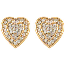 Buy Susan Caplan Vintage 1960s Nina Ricci Gold Plated Swarovski Crystal Heart Clip-On Earrings, Gold Online at johnlewis.com