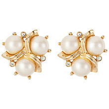 Buy Susan Caplan Vintage 1960s Trifari Gold Plated Faux Pearl Swarovski Crystal Clip-On Earrings, Pearl Online at johnlewis.com