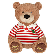 Buy John Lewis Rugby Shirt Lewis Christmas Bear, Large Online at johnlewis.com