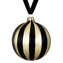 Buy John Lewis Boutique Glass Striped Bauble, Black and Gold Online at johnlewis.com