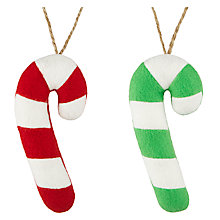 Buy John Lewis Felt Candycane Tree Decoration, Assorted Online at johnlewis.com