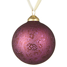 Buy John Lewis Midwinter Glass Marble Bauble, Fig Online at johnlewis.com