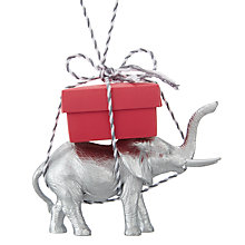 Buy John Lewis Different Perspective Resin Elephant With Parcel, Silver and Red Online at johnlewis.com