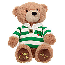 Buy John Lewis Rugby Shirt Lewis Christmas Bear, Small Online at johnlewis.com