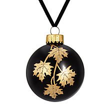 Buy John Lewis Boutique Glass Leaf Bauble, Black and Gold Online at johnlewis.com