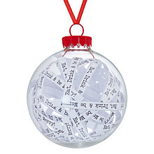 Buy John Lewis Different Perspective Glass Eat Drink Be Merry Text Bauble Online at johnlewis.com