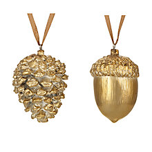 Buy John Lewis Midwinter Metal Acorn & Pine Cone, Assorted Styles, Gold Online at johnlewis.com