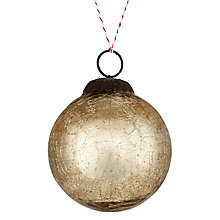 Buy John Lewis Midwinter Glass Crackle Bauble, Gold Online at johnlewis.com