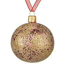 Buy John Lewis Midwinter Glass Crackle Bauble, Gold & Berry Online at johnlewis.com