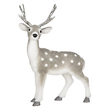 Buy John Lewis Snowdrift Flocked Grey Deer with Silver Antlers Online at johnlewis.com