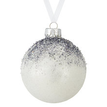 Buy John Lewis Snowdrift Snowcapped Glitter Bauble, Grey Online at johnlewis.com