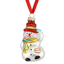 Buy John Lewis Glass Mini Snowman Bauble, White/Multi Online at johnlewis.com