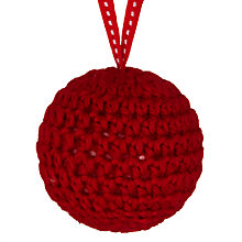 Buy John Lewis Knitted Bauble, Red Online at johnlewis.com