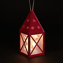 Buy John Lewis Red Wooden Lantern, 10 LEDs Online at johnlewis.com