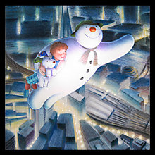 Buy Snowman and Snowdog Taking Off Christmas Lit Canvas Online at johnlewis.com