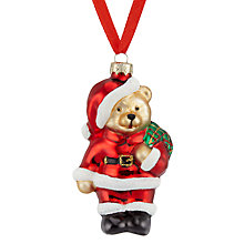 Buy John Lewis Glass Mini Santa Bear Bauble, Red/Multi Online at johnlewis.com