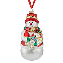 Buy John Lewis Glass Large Snowman Bauble, White/Multi Online at johnlewis.com