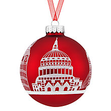 Buy John Lewis Glass London Skyline Scene Red Bauble, Red/Multi Online at johnlewis.com
