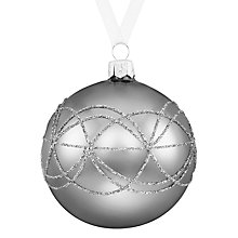 Buy John Lewis Boutique Glass Glitter Decorative Band Bauble, Pewter Online at johnlewis.com