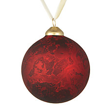 Buy John Lewis Midwinter Glass Marble Bauble, Red Online at johnlewis.com