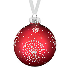 Buy John Lewis Glass Starburst Bauble, Red Online at johnlewis.com