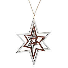 Buy John Lewis Snowdrift Wooden 3D Star, Silver Online at johnlewis.com