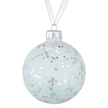 Buy John Lewis Snowdrift Glass Glitter Bauble, Silver Online at johnlewis.com