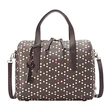 Buy Fossil Sydney Printed Leather Satchel, Brown Online at johnlewis.com