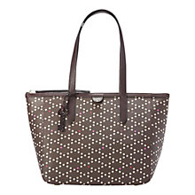 Buy Fossil Sydney Printed Shopper Leather Bag, Brown Online at johnlewis.com