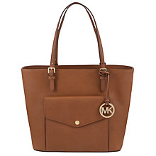 Buy Michael Kors Jet Set Item Large Pocket Leather Tote, Brown Online at johnlewis.com