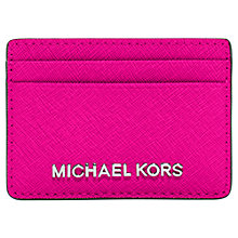 Buy Michael Kors Jet Set Travel Leather Card Holder, Raspberry Online at johnlewis.com