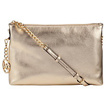 Buy MICHAEL Michael Kors Jet Set Chain Leather Messenger Bag, Pale Gold Online at johnlewis.com
