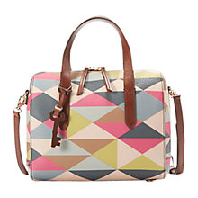 Buy Fossil Sydney Printed Satchel, Pink Online at johnlewis.com
