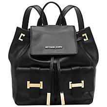 Buy MICHAEL Michael Kors Marly Leather Drawstring Backpack, Black Online at johnlewis.com