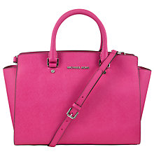 Buy MICHAEL Michael Kors Selma Large Leather Satchel, Raspberry Online at johnlewis.com