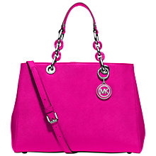 Buy MICHAEL Michael Kors Leather Cynthia Satchel Bag, Raspberry Online at johnlewis.com