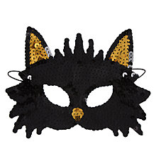 Buy John Lewis Sequin Cat Mask, Black Online at johnlewis.com