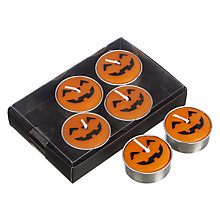 Buy John Lewis Pumpkin Tealights, Pack of 6, Orange Online at johnlewis.com