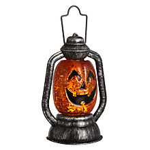 Buy John Lewis Halloween Mini Glitter Pre-lit Lantern, Orange Online at johnlewis.com