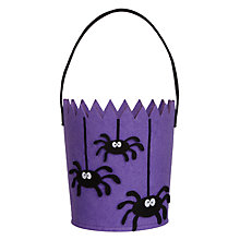 Buy John Lewis Halloween Felt Hanging Spider Bucket, Purple Online at johnlewis.com