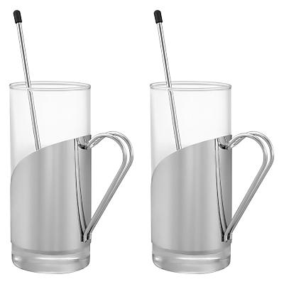 John Lewis Latte Mugs and Stirrer, Set of 2