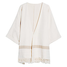 Buy Mango Fringe Detail Poncho, Light Beige Online at johnlewis.com
