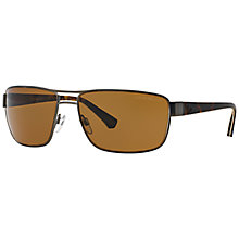 Buy Emporio Armani EA2031 Polarised Rectangular Framed Sunglasses, Brown Online at johnlewis.com