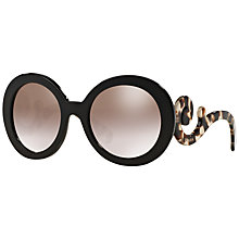 Buy Prada PR27NS Round Framed Sunglasses, Brown Online at johnlewis.com
